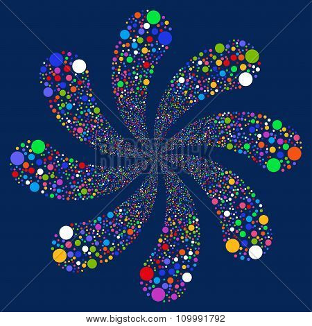 Ball Fireworks Swirl With Eight Petals