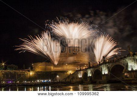 Fireworks Over Castel Sant' Angelo, Rome, Italy