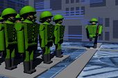 A platoon of soldiers on the parade ground, the Divorce of the guard, soldiers. Guard duty. Soldiers marching. Computer graphics. Green soldiers marching on parade. poster