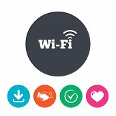 Free wifi sign. Wifi symbol. Wireless Network icon. Wifi zone. Download arrow, handshake, tick and heart. Flat circle buttons. poster