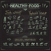 Healthy food chalkboard menu with hand drawn assorted fruits and vegetables chalk graphic symbols collection. Fresh juices, vegetarian salads, grilled vegetables. poster