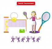 A tennis tournament illustration. Tennis sport concept with item icons. Portrait of sporty girl tennis player with racket in flat design style. Tennis, tennis background, tennis court, tournament, tennis match, tennis doubles poster