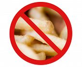 fast food, low carb diet, fattening and unhealthy eating concept - close up of french fries behind no symbol or circle-backslash prohibition sign poster