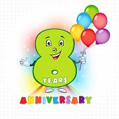 Eight years old animated logotype. 8 anniversary funny logo. Kids birthday colored card with personified digit, many bright celebrating congratulating balloons. Entertaining or kid's greetings. poster
