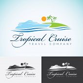 Yacht Palm trees and sun travel company logo design template. sea cruise tropical island or vacation logotype icon. poster