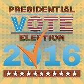 Election Day Campaign Ad Flyer. Social Promotion Banner. Presidential Election Vote 2016. American Flag's Symbolic Elements - Stripes and Stars. Digital vector illustration. poster