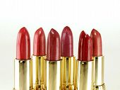 collection of six red tone lipstick makeups poster