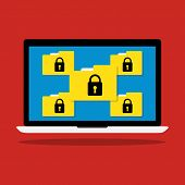 Computer laptop display icon folder with key lock of ransomware icon virus encrypted file. Vector flat illustration business data security concept. poster