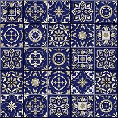 Gorgeous seamless  pattern from dark blue and white Moroccan, Portuguese  tiles, Azulejo, ornaments. Can be used for wallpaper, pattern fills, web page background, surface textures. poster