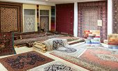 Arabic carpet shop exhibition colorful carpets exposition room poster