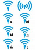 Set of Li-Fi wireless access icons. Li-Fi zone signs with different availability levels. Search Li-Fi icon. Li-Fi access granted and access denied icons. Li-Fi wait icon. poster