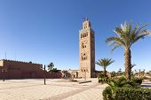 Minaret and square of Koutoubia mosque at Marrakesh, Morocco poster