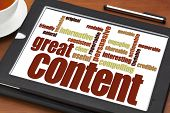 great content writing word cloud on a digital tablet with a cup of tea- bloging, business writing and content marketing concept poster