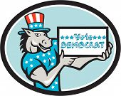 Illustration of a democrat donkey mascot of the democratic grand old party gop wearing American stars and stripes flag shirt and hat presenting holding Vote Democrat sign done in cartoon style set inside oval shape. poster