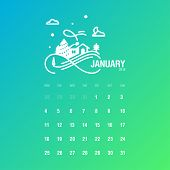 Calendar 2016. January. Week Starts Monday. Vector Illustration. Concepts Web Banner and Printed Materials. Trendy and Beautiful. poster