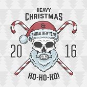 Bad Santa Claus biker with candies print design. Heavy metal Christmas portrait. Rock and roll 2016 new year t-shirt illustration. poster