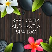 Keep calm and have a Spa day, healthcare and beauty template for spa salon, vector illustration. poster