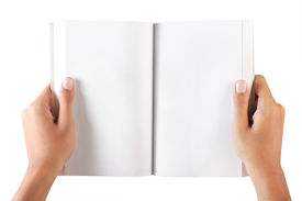hand holding blank book
