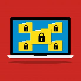Computer Laptop Display Icon Folder With Key Lock Of Ransomware Icon Virus Encrypted File. Vector Fl