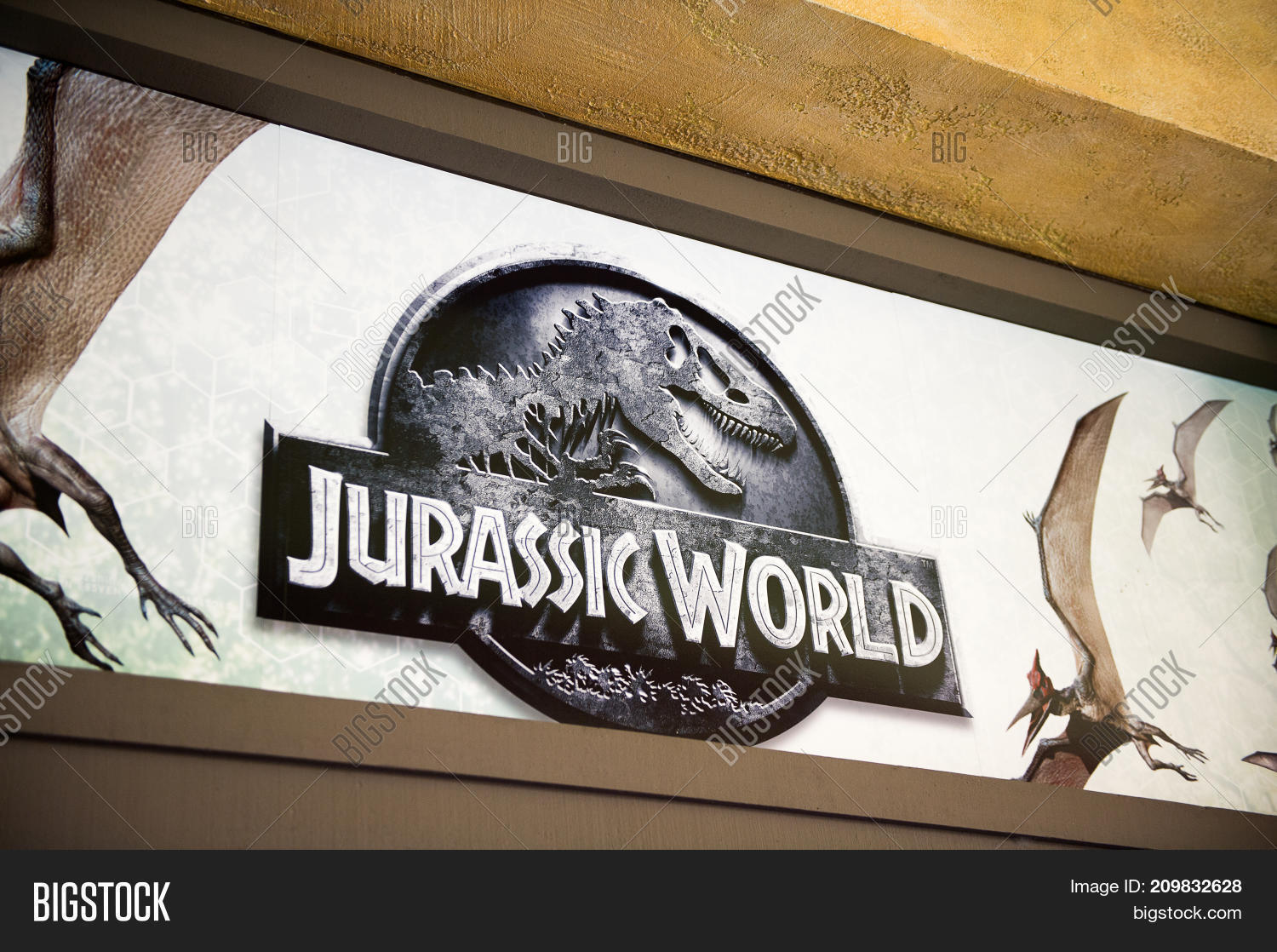 Los Angeles Usa Sep 27 2015 Jurassic World Logo In Jurassic Park Area In The Universal Studios Hollywood Park Jurassic Park Is A 1993 American Adventure