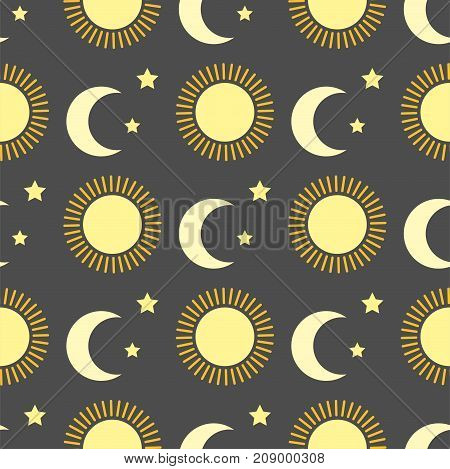 Sun burst or star background seamless pattern sunshine star and sunlight. Nature sun in summer. Star vector. Star sun moon silhouette background
