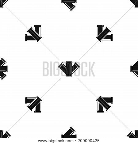 Sewerage pattern repeat seamless in black color for any design. Vector geometric illustration