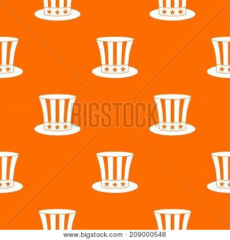 Uncle sam hat pattern repeat seamless in orange color for any design. Vector geometric illustration