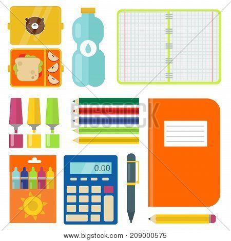School supplies children stationary educational accessory student notebook vector illustration. Mathematics learning teaching art. Science university graduation symbols.