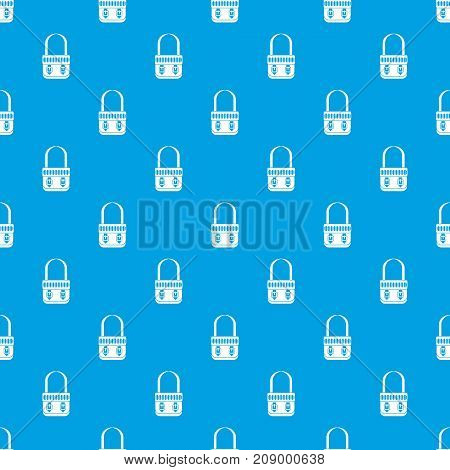 Shoulder bag pattern repeat seamless in blue color for any design. Vector geometric illustration