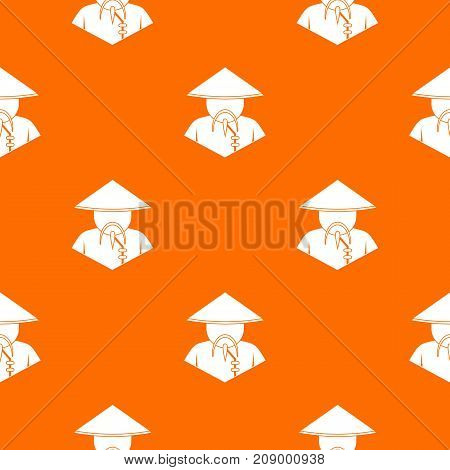 Asian man in conical hat pattern repeat seamless in orange color for any design. Vector geometric illustration