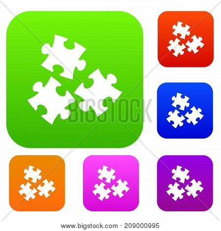 Puzzle set icon color in flat style isolated on white. Collection sings vector illustration