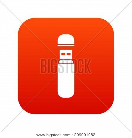 USB flash drive icon digital red for any design isolated on white vector illustration