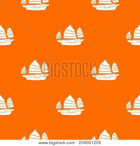 Junk boat pattern repeat seamless in orange color for any design. Vector geometric illustration