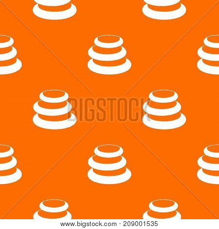 Stack of basalt balancing stones pattern repeat seamless in orange color for any design. Vector geometric illustration