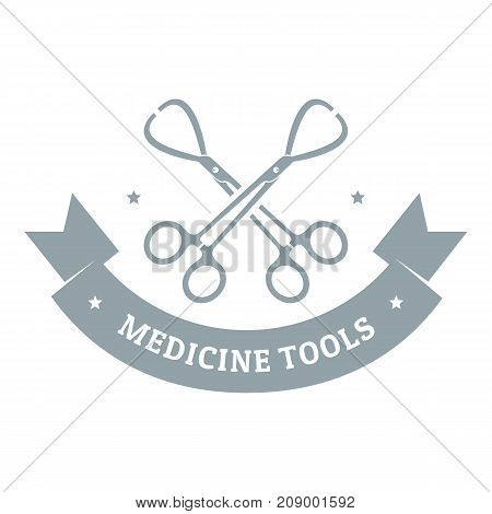 Instrument for medicine logo. Gray monochrome illustration of instrument for medicine vector logo for web
