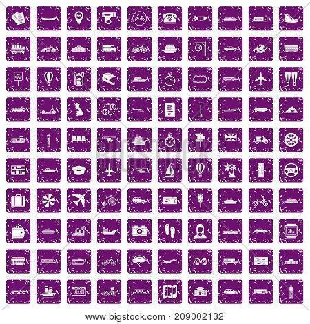 100 public transport icons set in grunge style purple color isolated on white background vector illustration