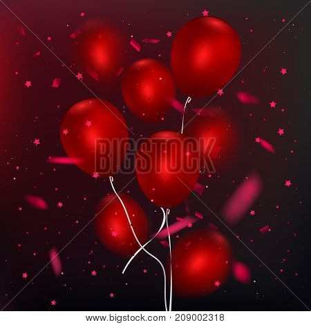 Realistic glossy balloons on dark background, Red balloon bunch. Decoration element for holiday event invitation design, vector illustration