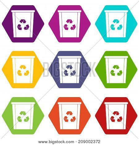 Trash bin with recycle symbol icon set many color hexahedron isolated on white vector illustration