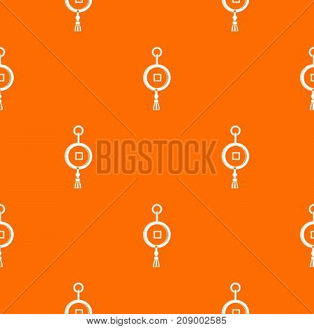Antique Chinese coin pattern repeat seamless in orange color for any design. Vector geometric illustration