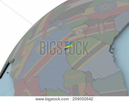 Map Of Rwanda With Flag