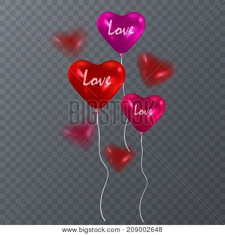 Red heart balloons isolated on transparent background. Vector, eps 10