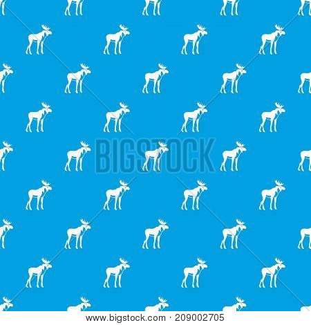 Moose pattern repeat seamless in blue color for any design. Vector geometric illustration
