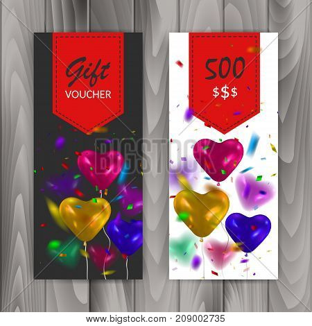 Gift Voucher Card Set. Template with colorful balloons. Vector eps 10
