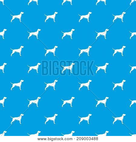Dog pattern repeat seamless in blue color for any design. Vector geometric illustration
