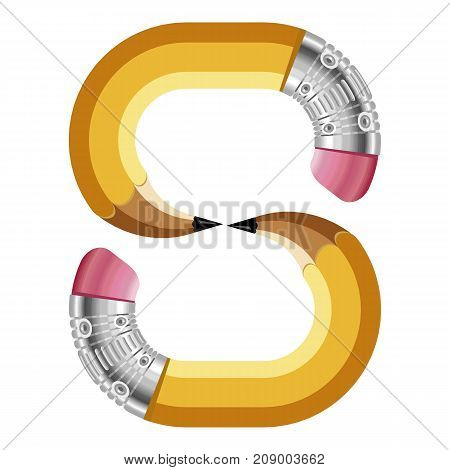 Number eight pencil icon. Cartoon illustration of number eight pencil vector icon for web
