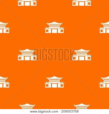 Chinese traditional building. pattern repeat seamless in orange color for any design. Vector geometric illustration