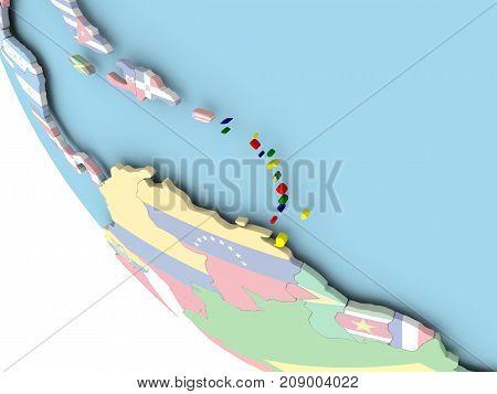 Caribbean With Flag On Globe