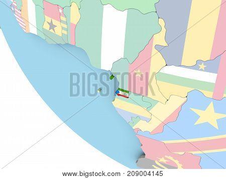 Equatorial Guinea With Flag On Globe