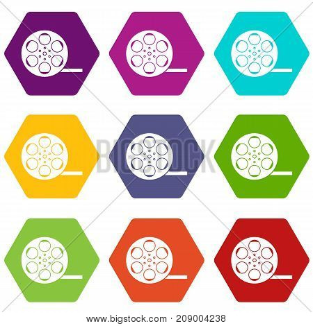 Film icon set many color hexahedron isolated on white vector illustration