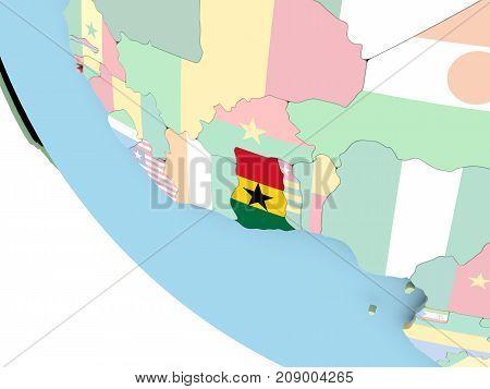 Ghana With Flag On Globe
